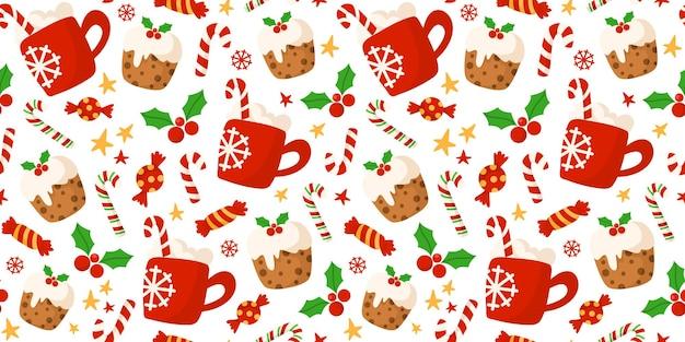 Taza de bebida caliente de cacao rojo navideño, bastón de caramelo, patrón de pastel dulce