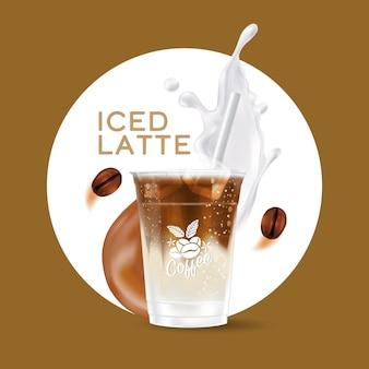 Taza de bebida latte helado realista