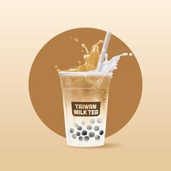 Taza de bebida de té de burbujas helado realista