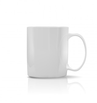 Taza blanca fotorrealista. ilustración vectorial