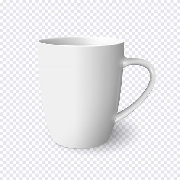 Taza blanca realista aislada en transparente