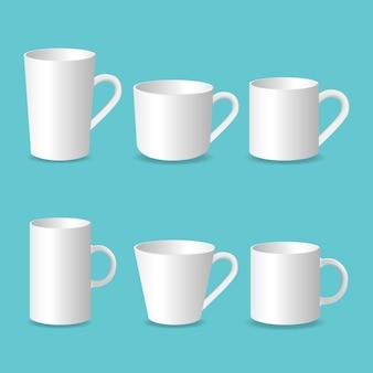 Taza en blanco 3d, conjunto realista de taza de café aislado sobre fondo blanco