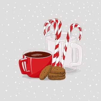 Taza con cacao y galletas. dulces navideños. feliz navidad.