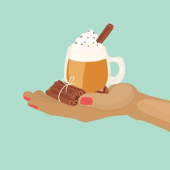 Taza de cacao o café con chocolate y crema batida y especias canela a mano ilustración de dibujos animados.