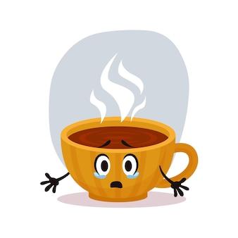 Taza de café amarilla pequeña triste sorprendida. bebida de invierno hott en taza de cerámica. personaje para pegatinas y postales. ilustración vectorial