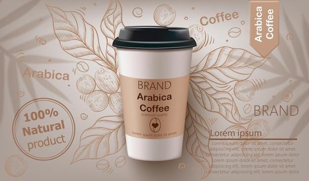 Taza de café arábica realista
