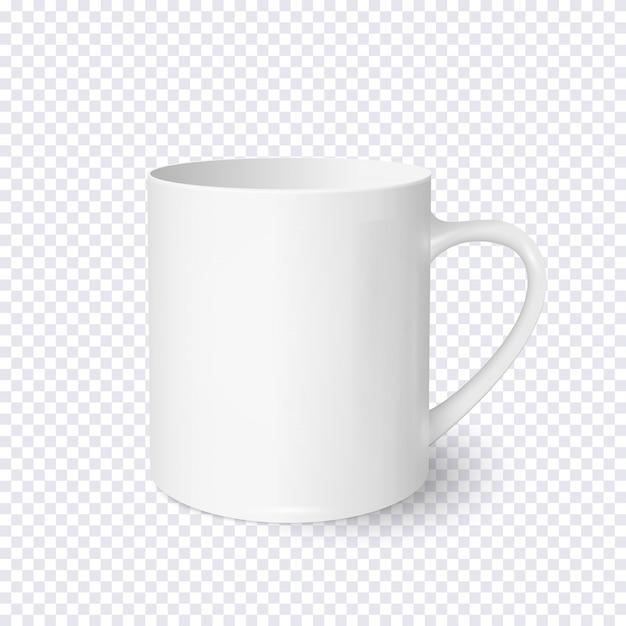 Taza de café blanco realista aislada sobre fondo transparente