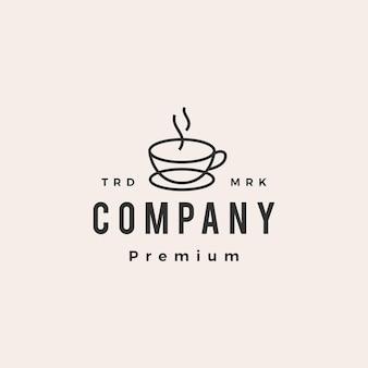 Taza de café café hipster vintage logo icono ilustración