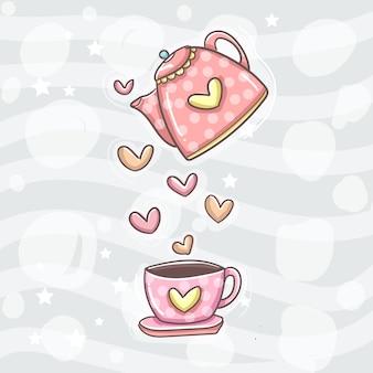 Taza de café y cafetera con amor