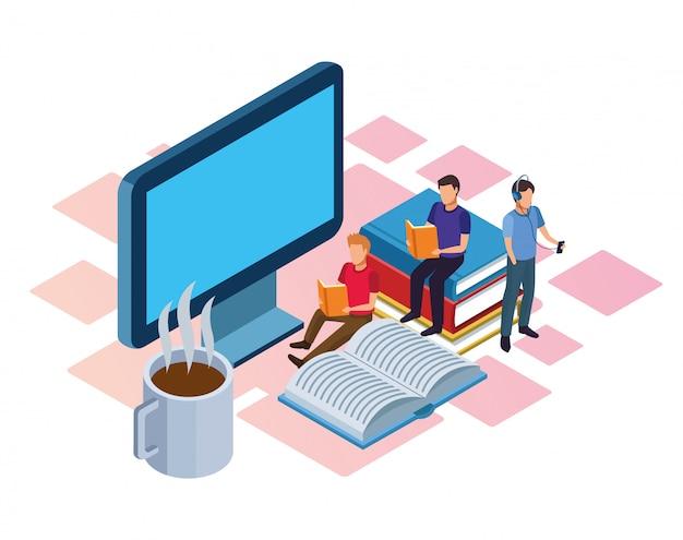 Taza de café caliente, computadora y personas leyendo en blanco