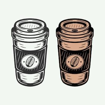 Taza de café caliente retro vintage para llevar