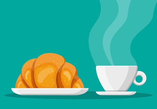 Taza de café y croissant francés. bebida caliente de café. concepto de cafetería, restaurante, menú, postres, panadería. vista desayuno. ilustración de vector de estilo plano
