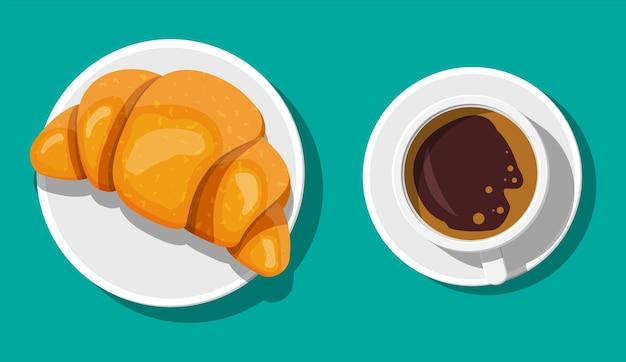Taza de café y croissant francés. bebida caliente de café. concepto de cafetería, restaurante, menú, postres, panadería. vista superior del desayuno. ilustración de vector de estilo plano