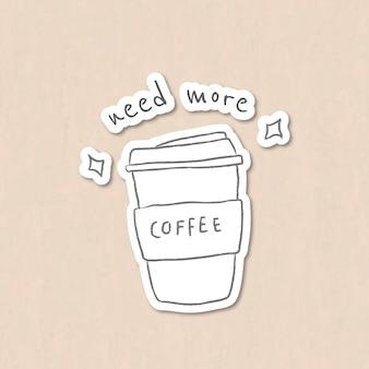 Taza de café desechable estilo doodle
