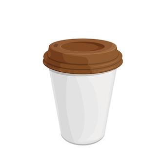 Taza de café desechable de papel con tapa de plástico en la parte superior