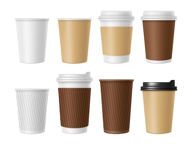 Taza de café desechable, taza de papel blanco en blanco de café caliente, conjunto realista de maqueta 3d de taza de café