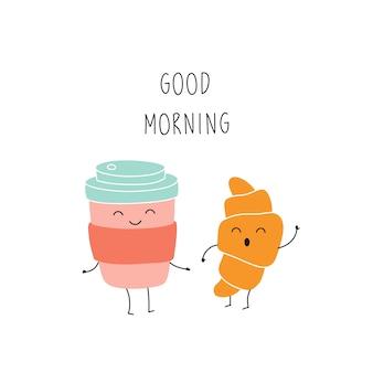 Taza de café de dibujos animados, croissant, buenos días, personaje divertido.