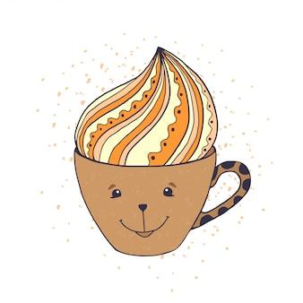 Taza de cafe de dibujos animados