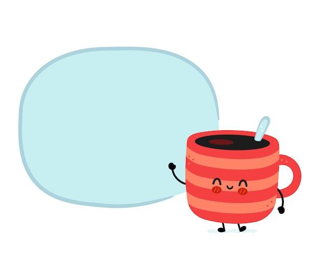 Taza de café divertida linda con burbujas de discurso