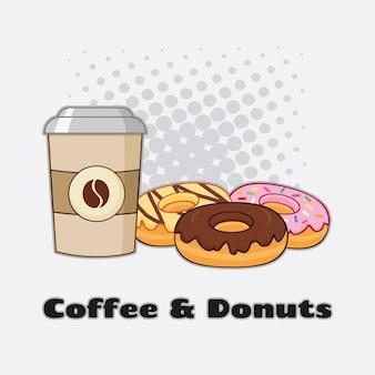 Taza de café con donuts diseño gráfico