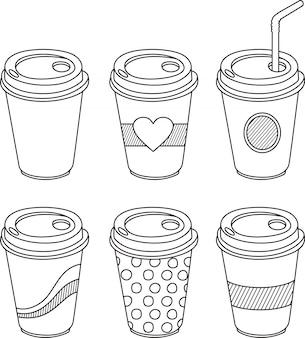 Una taza de café en estilo doodle