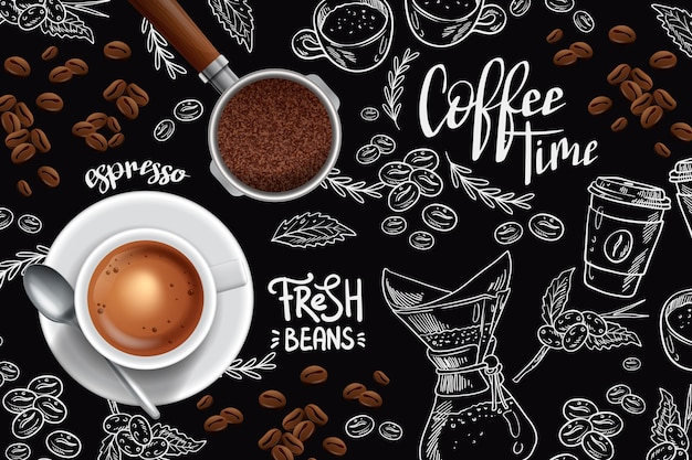 Taza de café expreso y granos de café.