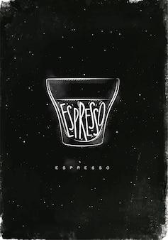 Taza de café expreso con letras expreso en estilo gráfico vintage dibujo con tiza sobre fondo de pizarra