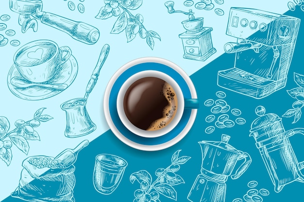 Taza de café expreso sobre fondo azul dibujado a mano