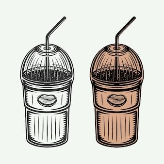 Taza de café fría retro vintage