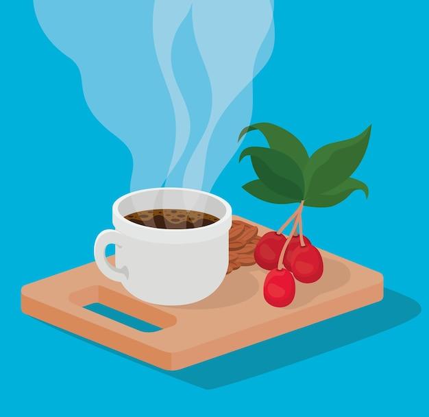 Taza de café frijoles bayas y hojas en el diseño de la mesa de bebida con cafeína desayuno y tema de bebidas.