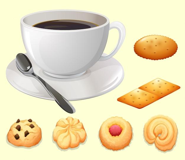 Taza de café y galletas