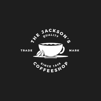 Taza de café con granos de café cafetería retro vintage etiquetas cafe vector diseño de logotipo