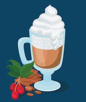 Taza de café helado con hojas de bayas crema y diseño de frijoles de bebida con cafeína, desayuno y tema de bebidas.