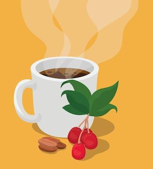 Taza de café con hojas de bayas y diseño de frijoles de bebida con cafeína, desayuno y tema de bebidas.