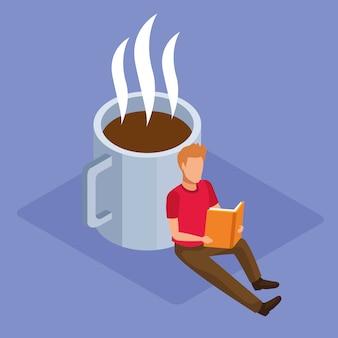 Taza de café y hombre leyendo un libro sobre fondo púrpura, colorido isométrico