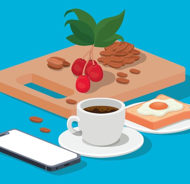 Taza de café, huevo, smartphone, frijoles, bayas, y, hojas, diseño, de, bebida, cafeína, desayuno, y, bebida, theme.