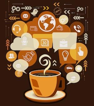 Taza de café y los iconos de negocios con discurso de burbuja