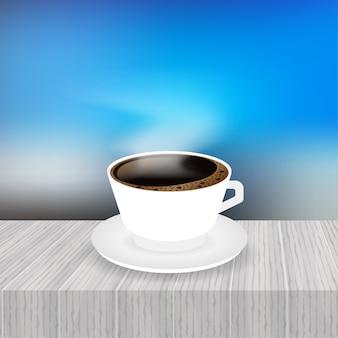 Una taza de café y una ilustración de platillo
