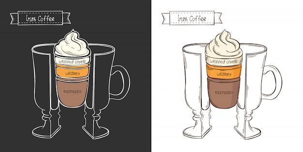 Taza de café irlandés. infografía