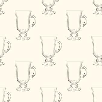 Taza de café irlandés de patrones sin fisuras. vaso de vidrio dibujado a mano.