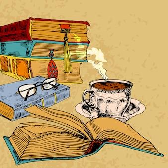 Taza de cafe y libros
