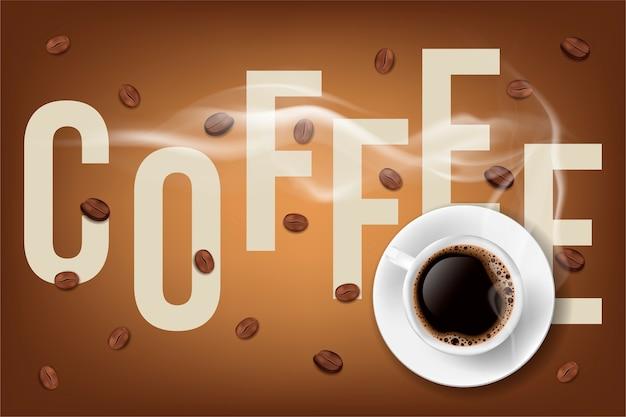 Taza de café llena y granos de café con descripción