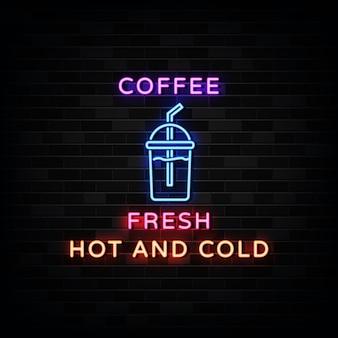 Taza de café logo letreros de neón estilo de diseño de neón