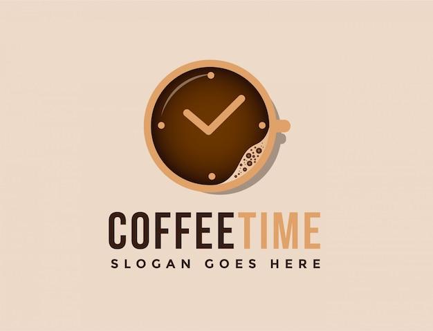 Taza de café y logo de reloj