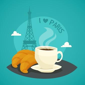 Taza de café por la mañana con croissants