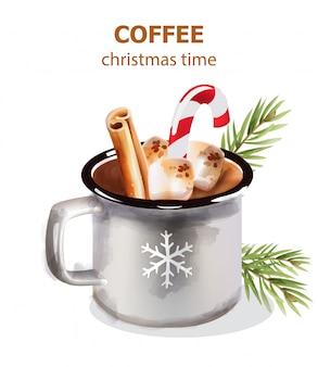 Taza de café de navidad con dulces y decoraciones navideñas