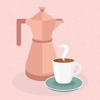 Taza de café y olla sobre el tema de fondo rosa