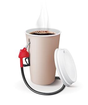 Taza de café de papel con dispensador. el café metáfora es poder para las personas.