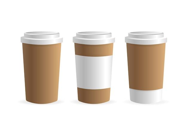 Taza de café de papel sobre fondo blanco. blanco . , modelo. bebida de café.
