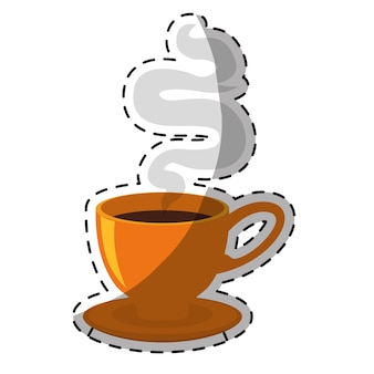 Taza de café pequeña naranja con diseño de vapor
